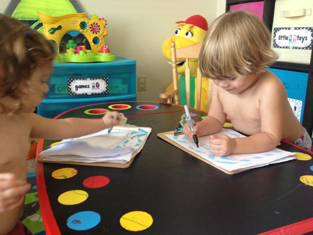 Kids marking their calendars