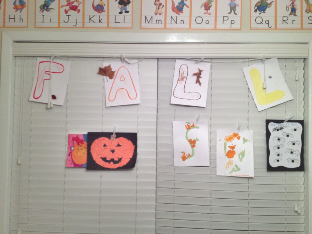 fall playroom wall