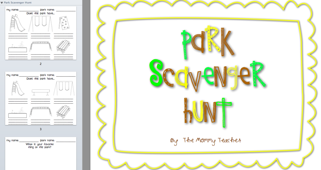 Park Scavenger Hunt Printable