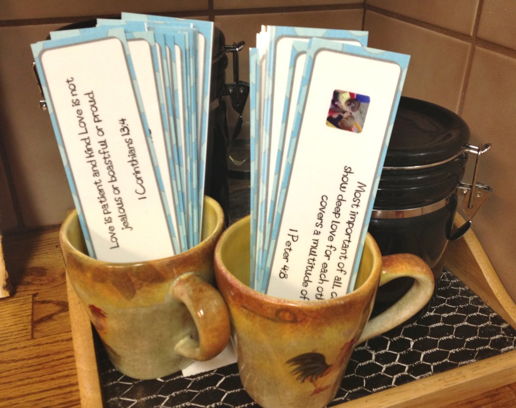 diplaying scripture cards in coffee cups