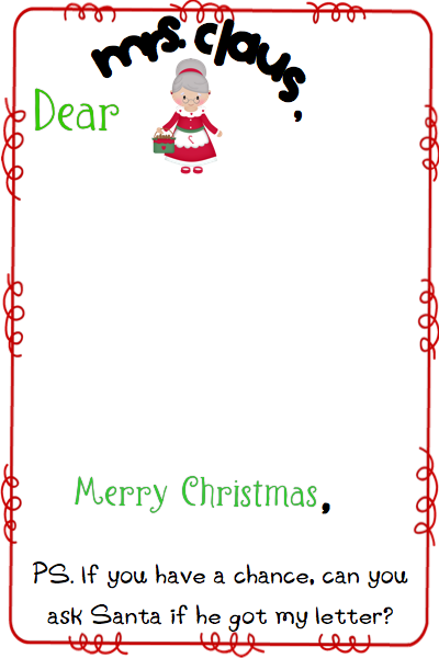 Your child can write a letter or draw a picture for the Mrs. too!