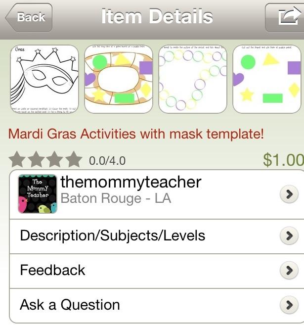 The Mommy Teacher Mardi Gras Activities on TPT