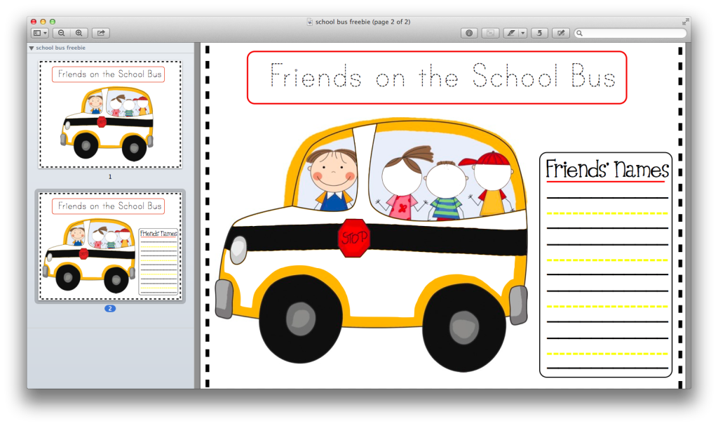Screen Shot of School Bus Freebie